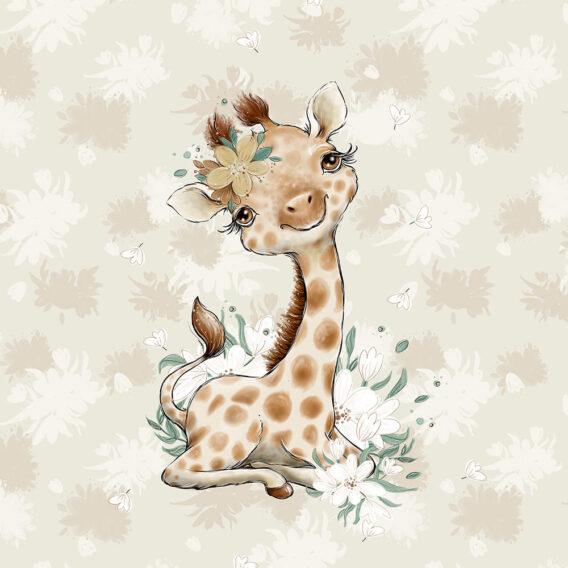 1 French Terry Panel mit niedlicher Giraffe mit Blumen – 40x50cm – Steppenliebe – Digital – Ökotex