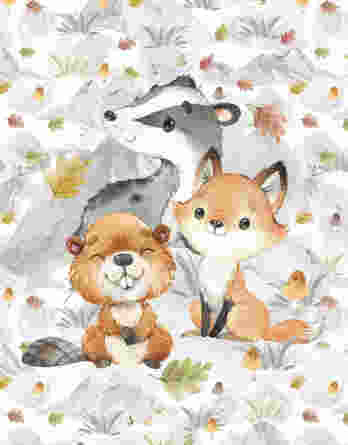 FT panel mountains fall badger and friends 348x445 - 1 French Terry Panel mit Dachs, Biber und Fuchs - 40x50cm - Herbstliebe