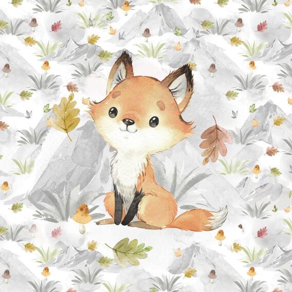 1 French Terry Panel mit süßem Fuchs Baby – 40x50cm – Herbstliebe