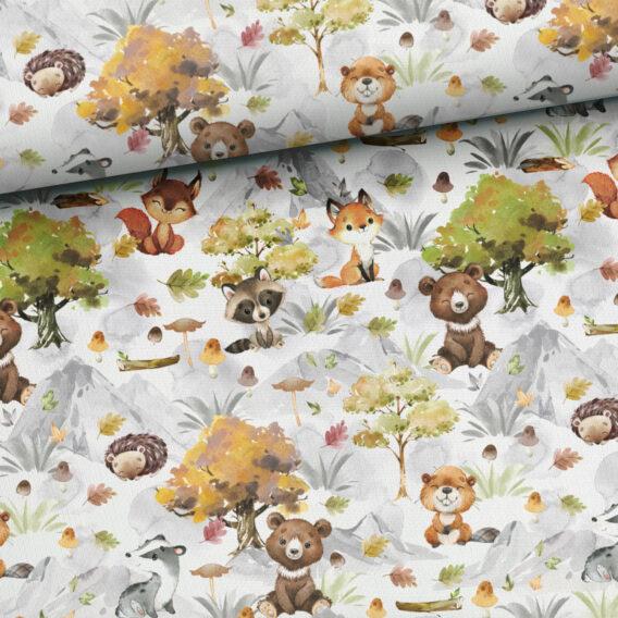 0,5m French Terry mit Füchse, Bären, Biber, Dachse, Eichhörnchen und Igel – Herbstliebe